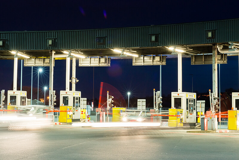 Tunnel toll booth at night